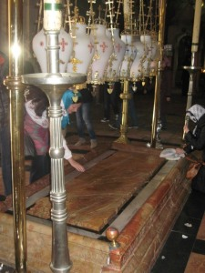 The Stone of Unction: the spot where Jesus' body was laid when first taken down from the Cross.  Church of the Holy Sepulcher, Jerusalem.