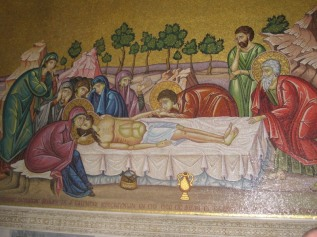 Mural near the Stone of Unction: the spot where Jesus' body was laid when first taken down from the Cross.  Church of the Holy Sepulcher, Jerusalem.