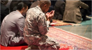 Muslim Solider Praying at the National Cathedral