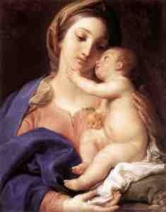 Madonna and Child by Pompeo Batoni, ca 1742.