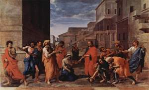 Christ and the Woman Taken in Adultery (1653) by Nicolas Poussin